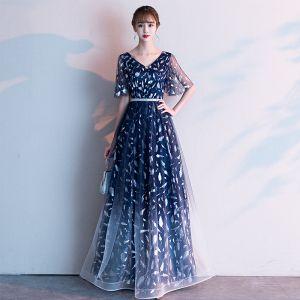 Fashion Navy Blue Evening Dresses  2020 A-Line / Princess V-Neck Feather Printing Short Sleeve Backless Floor-Length / Long Formal Dresses