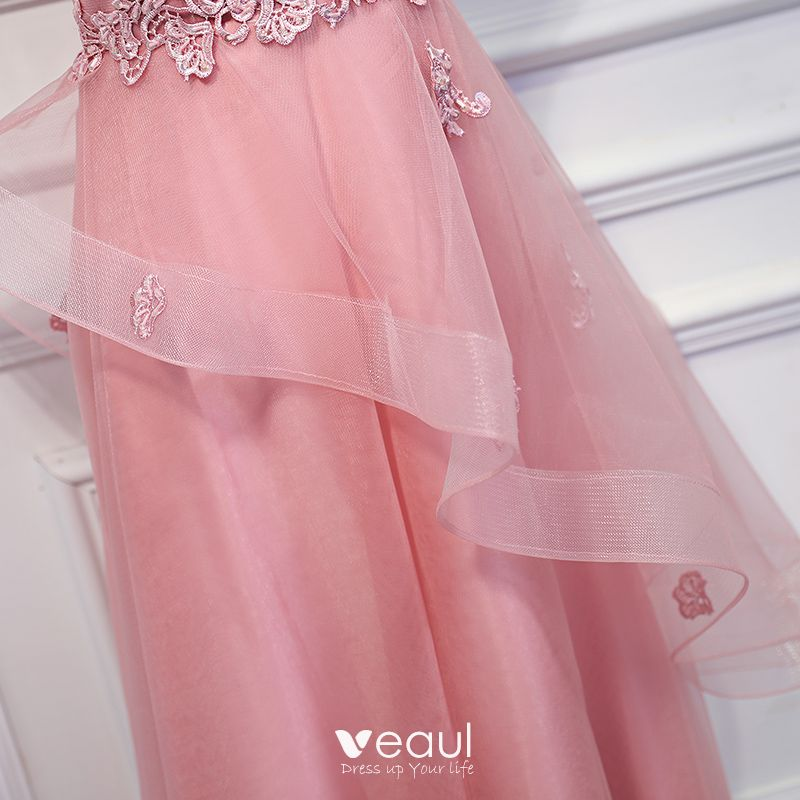 Lovely Pearl Pink Wedding Party Dresses 2017 Lace Sequins Flower One-Shoulder Sleeveless Ankle Length Empire Bridesmaid Dresses