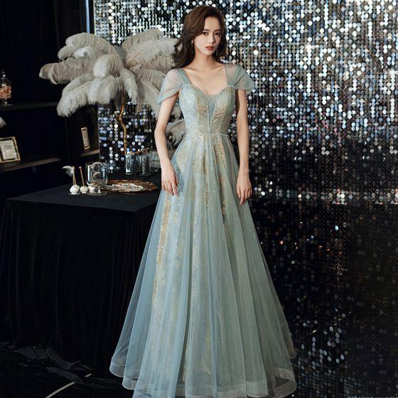 Moda Zielony Sukienki Wieczorowe 2021 Princessa Kwadratowy Dekolt Cekiny Z Koronki Kwiat Bez Rękawów Bez Pleców Długie Wieczorowe Sukienki Wizytowe