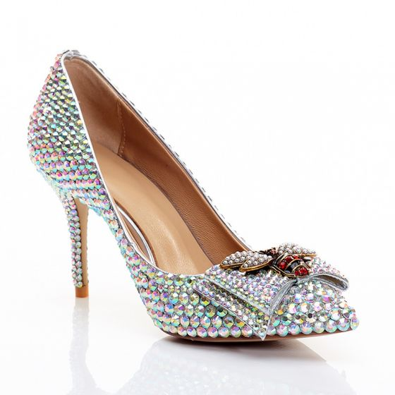 Charmant Argenté Chaussure De Mariée 2020 Cuir Faux Diamant Papillon 8 cm Talons Aiguilles À Bout Pointu Mariage Escarpins