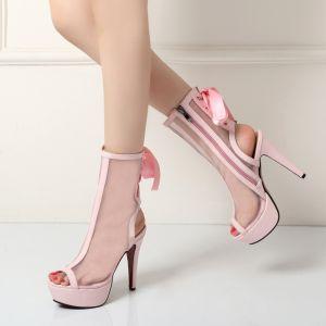 Unique Freizeit Stiefel Damen 2017 Tülle Ankle Boots Schleife Riemchen Plateau Peeptoes High Heel Stiefel