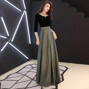 Élégant Noire Robe De Soirée 2019 Princesse Daim Encolure Dégagée Glitter Polyester 3/4 Manches Longue Robe De Ceremonie
