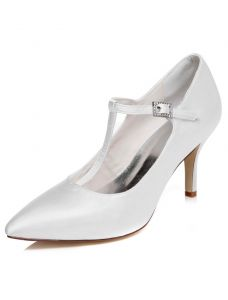 Classic Satin Wedding Shoes Stiletto Heels Pumps White Bridal Shoes With Ankle Strap
