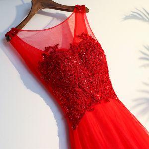 Schöne Rot Abendkleider 2017 Abend Applikationen Perlenstickerei Spitze Blumen Pailletten Tülle