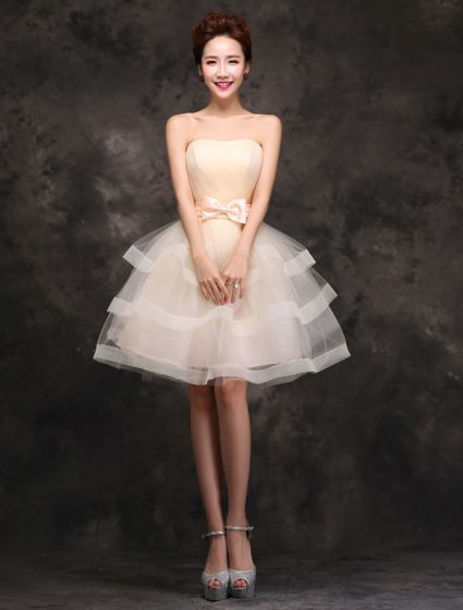 Charming Short Cocktail Dress Champagne Tulle Strapless Backless Party Dress