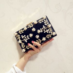 Modern / Fashion Black Beading Pearl Metal Clutch Bags 2018