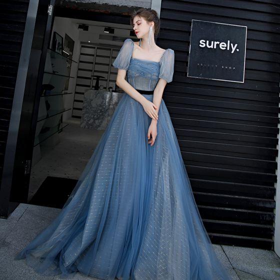 Eleganckie Ciemnoniebieski Sukienki Na Bal 2020 Princessa Kwadratowy Dekolt Bufiasta Kótkie Rękawy Szarfa Frezowanie Długie Wzburzyć Bez Pleców Sukienki Wizytowe