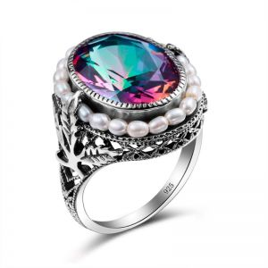 Luxury / Gorgeous Multi-Colors Rings 2019 Leaf Crystal Pearl Silver Plated Synthetic Gemstones Evening Party Accessories Ring