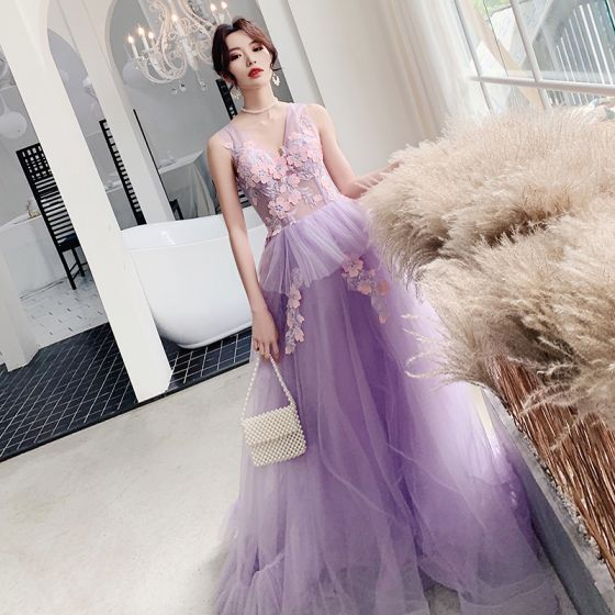 Illusion Lilac See-through Evening Dresses  2019 A-Line / Princess V-Neck Sleeveless Appliques Lace Floor-Length / Long Ruffle Backless Formal Dresses