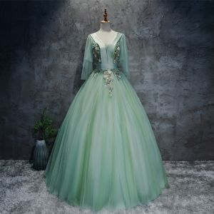 Chic / Beautiful Sage Green Prom Dresses 2017 Ball Gown V-Neck 3/4 Sleeve Appliques Flower Beading Sequins Sash Floor-Length / Long Pleated Backless Formal Dresses