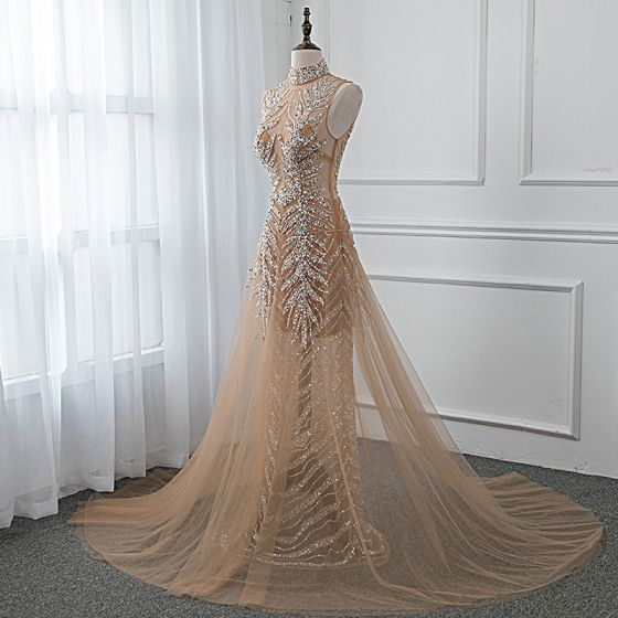 Luxury / Gorgeous Gold See-through Summer Evening Dresses  2019 A-Line / Princess High Neck Sleeveless Sequins Beading Court Train Backless Formal Dresses