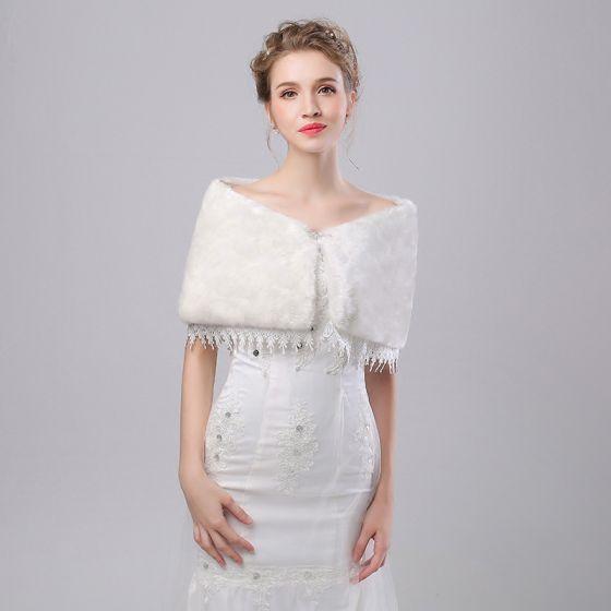 White Winter Lace Faux Fur Prom Wedding Shawls 2017