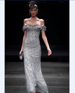 Sheath Strapless Floor Length Bead Satin Imitated Silk Evening Dresses