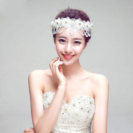 Rhinestone Fringed The Bridal Headpieces / Lace Head Flower / Wedding Hair Accessories / Wedding Jewelry