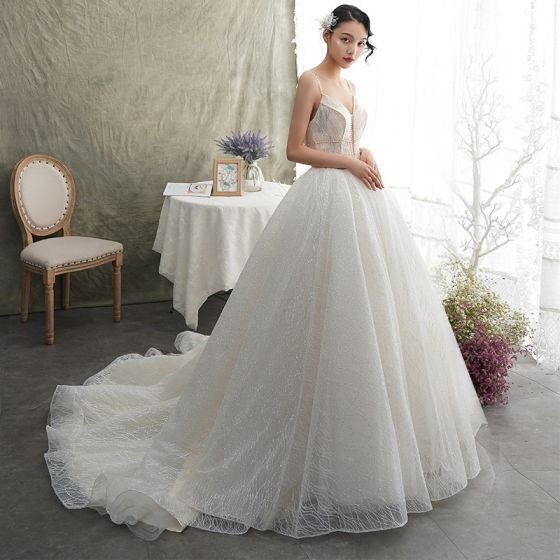Luxury / Gorgeous Ivory Wedding Dresses 2019 A-Line / Princess Spaghetti Straps Sleeveless Backless Beading Pearl Glitter Tulle Court Train Ruffle