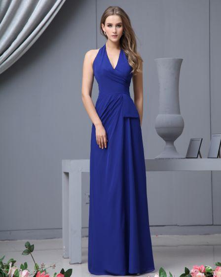 Chiffon Pleated Halter Floor Length Bridesmaid Dress