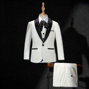 Elegante Schwarz Strass Krawatte Ivory / Creme Kinderanzug 2019