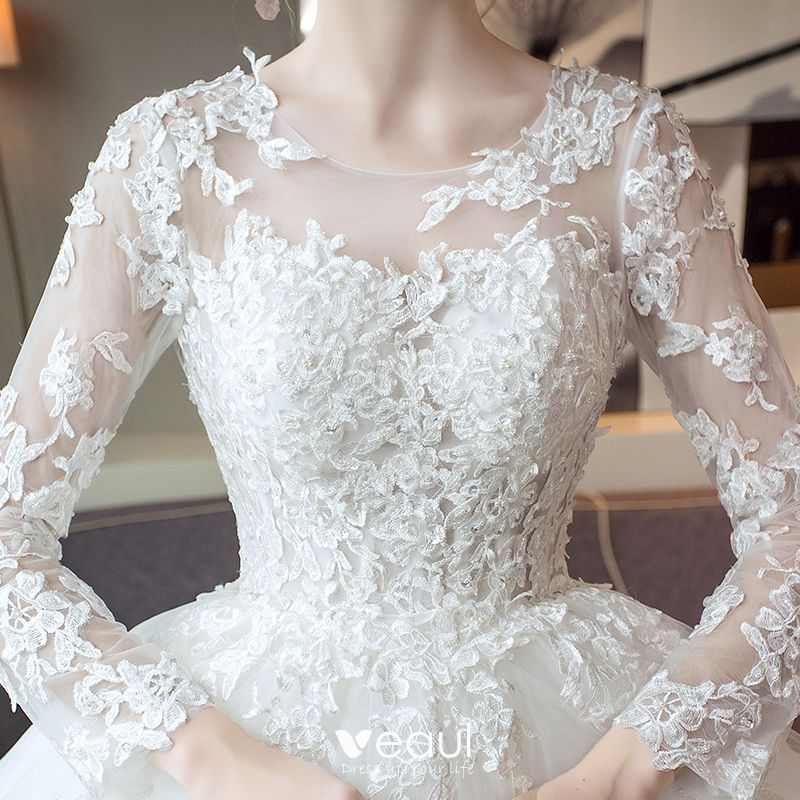 Dressv Ivory Wedding Dress Strapless Long Sleeves Chapel: Elegant Ivory Wedding Dresses 2017 A-Line / Princess Scoop