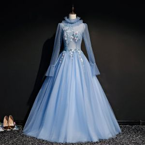 Vintage / Retro Sky Blue See-through Prom Dresses 2019 Ball Gown High Neck Long Sleeve Appliques Lace Beading Pearl Floor-Length / Long Ruffle Backless Formal Dresses