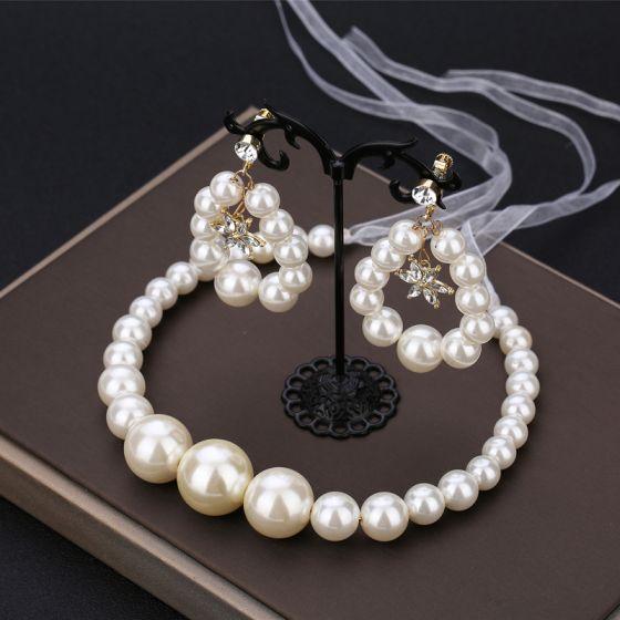 Elegante Ivory / Creme Perle Kopfschmuck Haarschmuck Braut  2020 Metall Schnüren Stirnbänder Ohrringe Brautschmuck Brautaccessoires