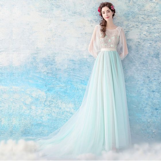 Chic / Beautiful Pool Blue Evening Dresses  2017 A-Line / Princess U-Neck Tulle Appliques Backless Beading Evening Party Formal Dresses