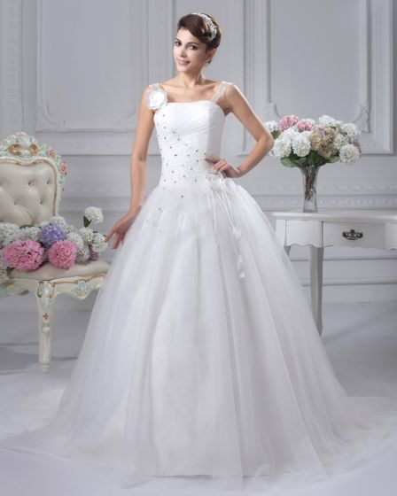Satin Beaded Flowers Shoulder Straps Chapel Bridal Ball Gown Wedding Dress