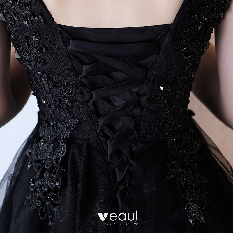 Modern / Fashion Formal Dresses 2017 Party Dresses Black Short A-Line / Princess Cascading Ruffles V-Neck Sleeveless Backless Lace Appliques Rhinestone