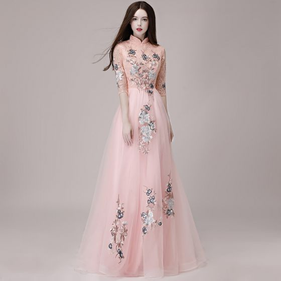 Chinese style Pearl Pink Evening Dresses  2018 A-Line / Princess High Neck 1/2 Sleeves Appliques Lace Floor-Length / Long Ruffle Formal Dresses