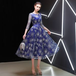 Starry Sky Royal Blue Homecoming Graduation Dresses 2019 A-Line / Princess Scoop Neck 3/4 Sleeve Sash Glitter Tulle Tea-length Ruffle Formal Dresses