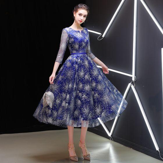 Starry Sky Royal Blue Homecoming Graduation Dresses 2019 A-Line / Princess Scoop Neck 3/4 Sleeve Sash Glitter Tulle Tea-length Ruffle Formal Dresses