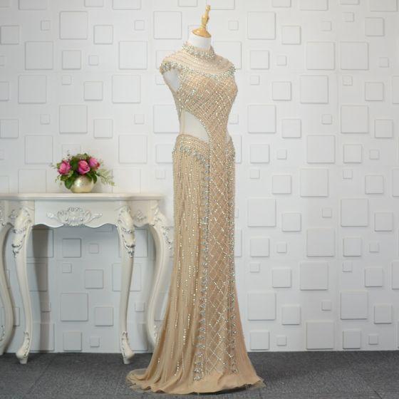 Luxury / Gorgeous Champagne Handmade  Beading Evening Dresses  2019 Trumpet / Mermaid Crystal Sequins High Neck Sleeveless Sweep Train Formal Dresses