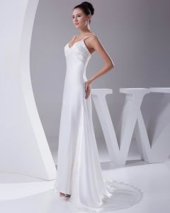 Elegant Charmeuse Beading Spaghetti Strap Floor Length Women Wedding Dress