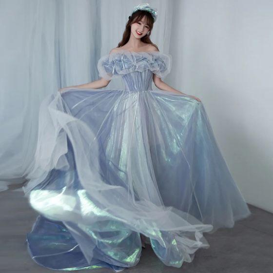 Illusion Sky Blue Cinderella Prom Dresses 2021 A-Line / Princess Off-The-Shoulder Short Sleeve Backless Sweep Train Formal Dresses