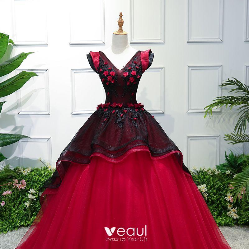 Vintage / Retro Black Red Prom Dresses