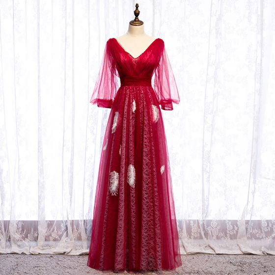 Classy Red Evening Dresses  2020 A-Line / Princess V-Neck Feather Beading Long Sleeve Backless Floor-Length / Long Formal Dresses