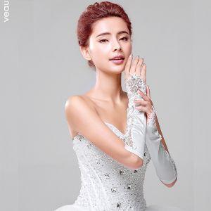 2015 Simple Bride Gloves Satin Fingerless Lace Short Gloves
