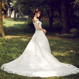 Chic / Beautiful Outdoor / Garden Wedding Dresses 2017 White A-Line / Princess Cathedral Train Off-The-Shoulder Short Sleeve Backless Lace Appliques Sequins Rhinestone