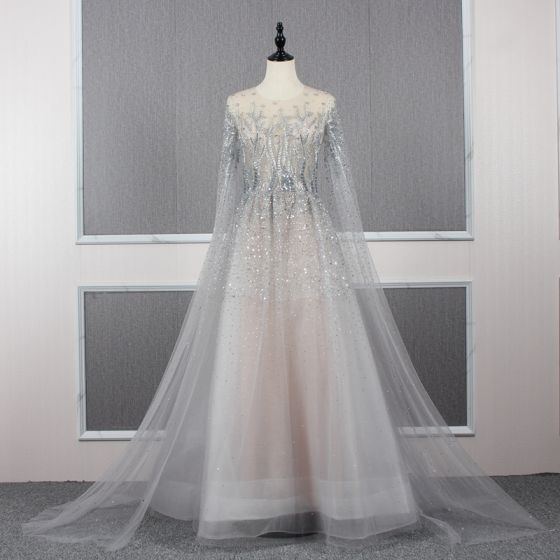 Charming Grey See-through Red Carpet Evening Dresses  2020 A-Line / Princess Scoop Neck Long Sleeve Beading Sweep Train Ruffle Formal Dresses