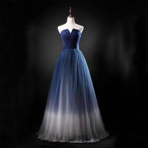Chic / Belle Dégradé De Couleur Robe De Bal 2019 Princesse Bustier Sans Manches Dos Nu Longue Robe De Ceremonie