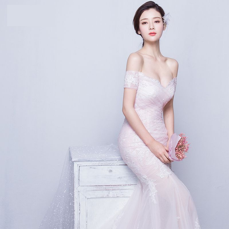Affordable Hall Wedding Dresses 2017 Blushing Pink Trumpet / Mermaid Chapel Train Off-The-Shoulder Short Sleeve Backless Pearl Lace Appliques