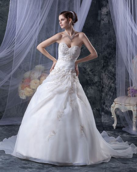 Elegante Lieverd Organza Satijn Beadings Borduren A-lijn Vloer Lengte Bruidsjurken Trouwjurken