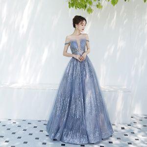 Charmant Bleu Ciel Robe De Soirée 2019 Princesse De l'épaule Transparentes Col v profond Manches Courtes Glitter Tulle Longue Volants Dos Nu Robe De Ceremonie