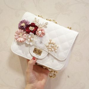 Chic / Beautiful White Pearl Flower Metal Clutch Bags 2018