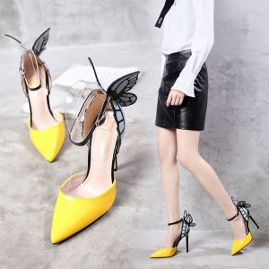 Chic / Beautiful Yellow Prom Butterfly Womens Shoes 2020 Ankle Strap 11 cm Stiletto Heels Pointed Toe High Heels