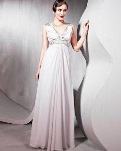 Sicken Seidentüll Charmeuse Mit V-ausschnitt Bodenlangen Abendkleid