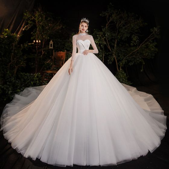 Vintage / Retro White See-through Bridal Wedding Dresses 2020 Ball Gown High Neck Long Sleeve Backless Beading Pearl Cathedral Train Ruffle
