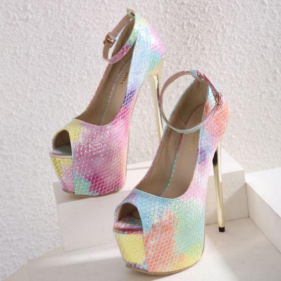 Moda Multi-Kolory Drukuj Wężowej Karnawał Sandały Damskie 2021 Z Paskiem 16 cm Wspaniały Szpilki Peep Toe Sandały Wysokie Obcasy