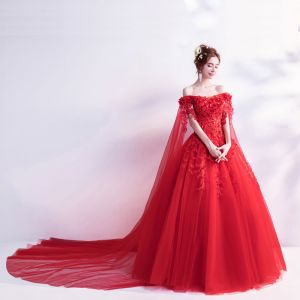 Chic / Beautiful Strapless Prom Dresses 2018 Floor-Length / Long Tulle Red Appliques Backless Beading Embroidered Ball Gown Prom Formal Dresses
