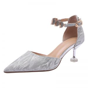 Charming Silver Wedding Shoes 2020 Sequins Ankle Strap 6 cm Stiletto Heels Pointed Toe Wedding Sandals