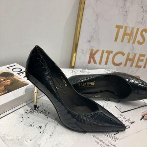 Modest / Simple Black Street Wear Leather Pumps 2020 Snakeskin Print 7 cm Stiletto Heels Pointed Toe Pumps